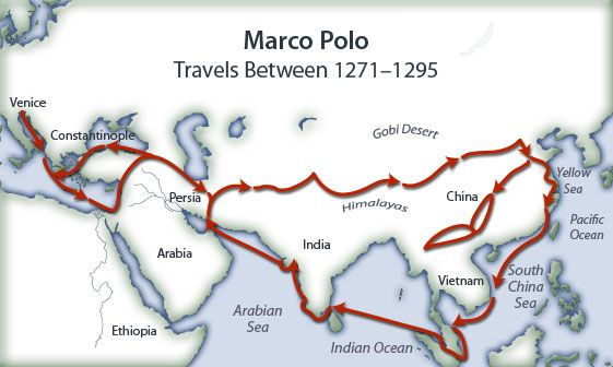 Marco Polo's travel map where he learnt about paper money