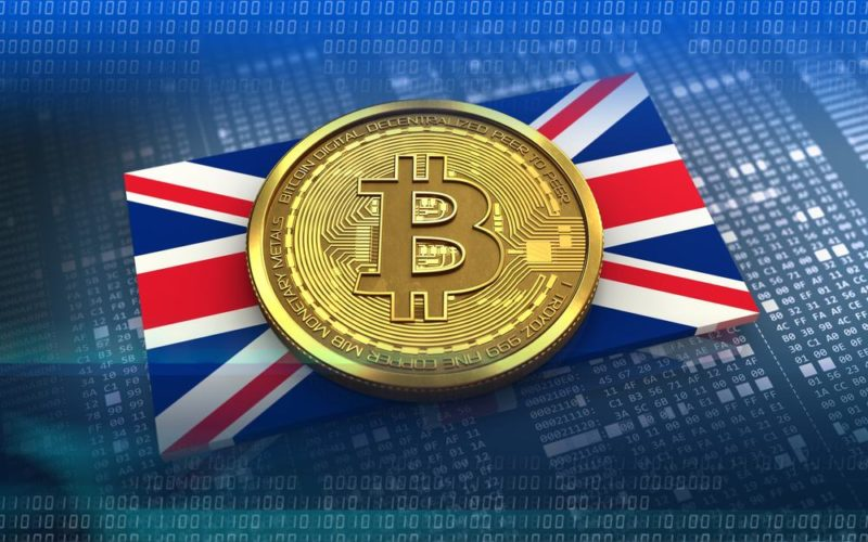 Bitcoin logo on English flag with blue back ground