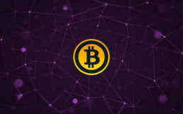 Bitcoin logo and coin on a purple blockchain network background