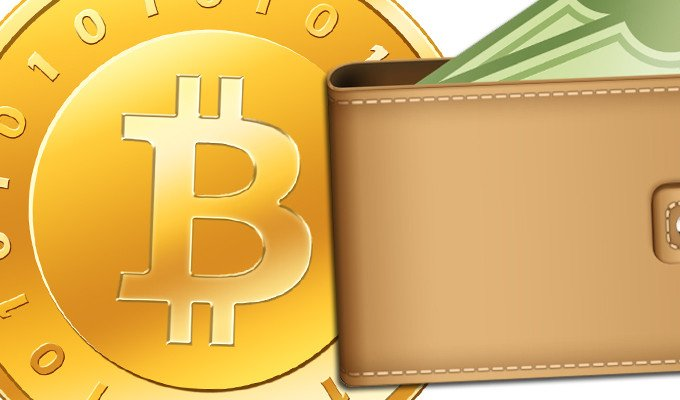 Bitcoin logo coin with white background with leather wallet containing some green fiat cash