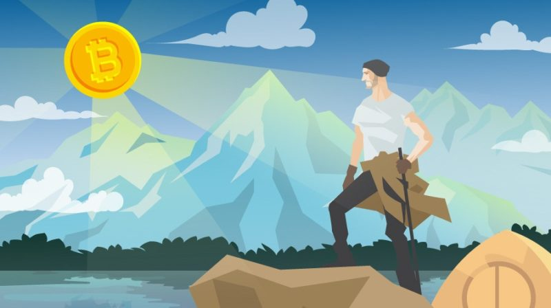Man standing over mountains with Bitcoin sun