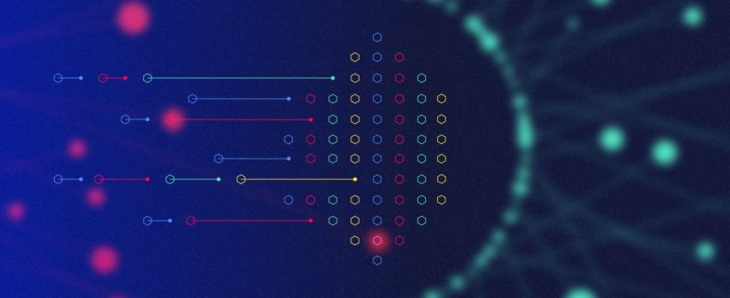 Blockchain image with red and blue dots
