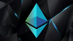Blue and green ethereum ETH logo with black block back ground