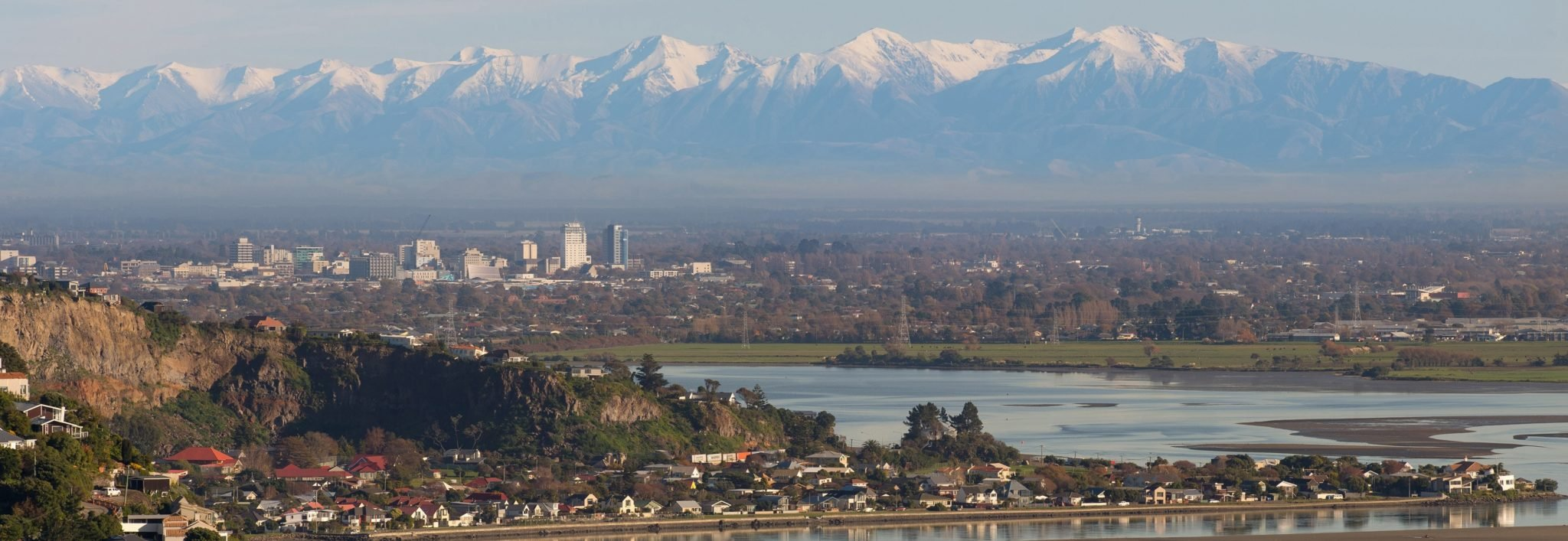 Christchurch with alps in back ground