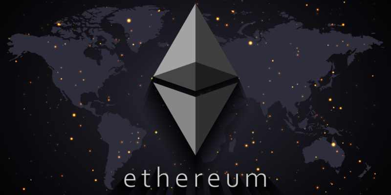 Ethereum ETH logo infront of dark grey world map with a few specs of light