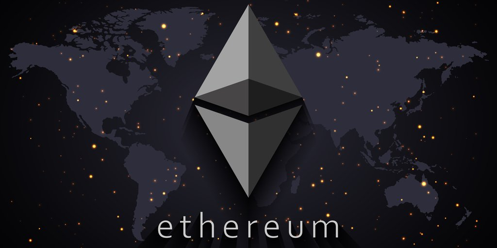 ethereum logo on top of dark grey world map with lights