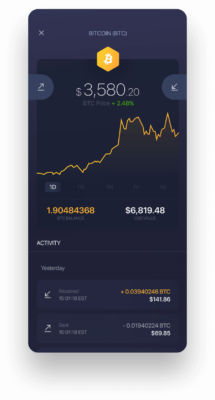 Exodus Mobile Bitcoin wallet homepage screenshot