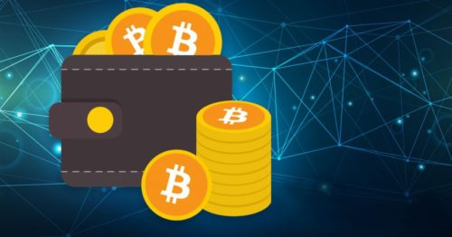 Bitcoin wallet infront of blockchain back ground with BTC stacked as physical coins