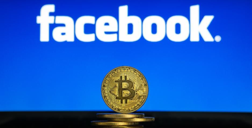 Facebook logo with blue background with bitocin physical coin in front