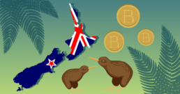 Where can I spend my Bitcoin in New Zealand thumbnail with 2 kiwis 3 bitcoins some ferns and New Zealand
