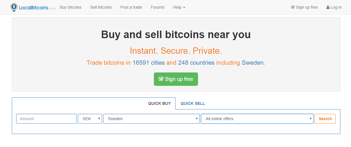 Local Bitcoins Homepage screenshot