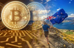 Man running in the hills with a new zealand flag with bitcoin coins on the left side of the image