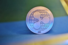 Ripple XRP logo on coin