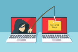 Robber with black mask fishing for personal data