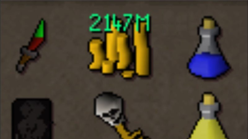 Runescape GP Currency in a stack with other items in a players inventory