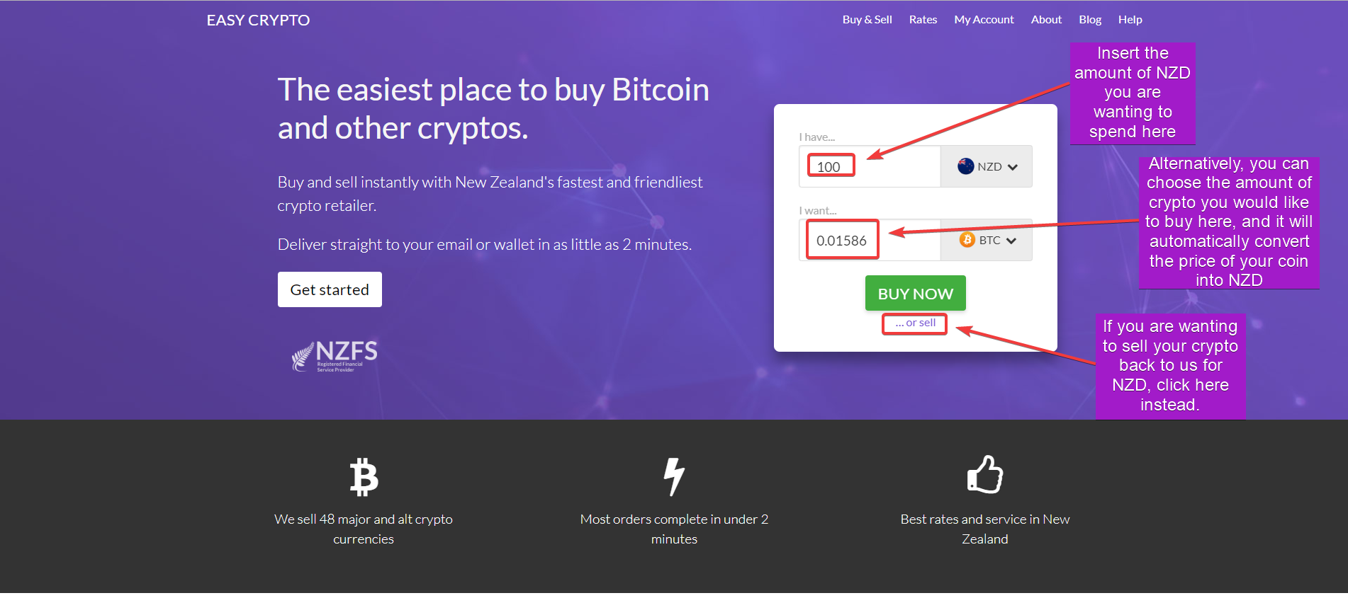 Walk through for main page of buying bitcoin with easycrypto
