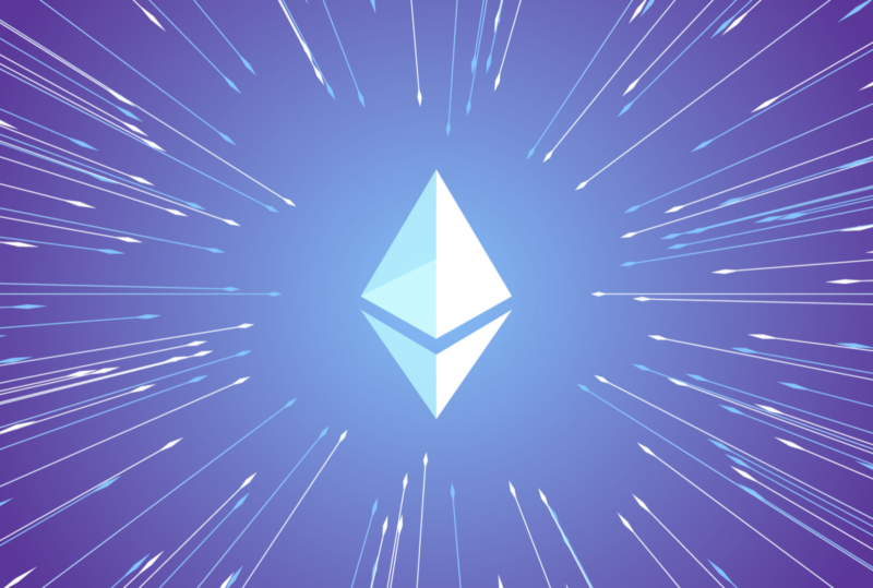 Sell ethereum image with eth logo with stars and lights shining on it