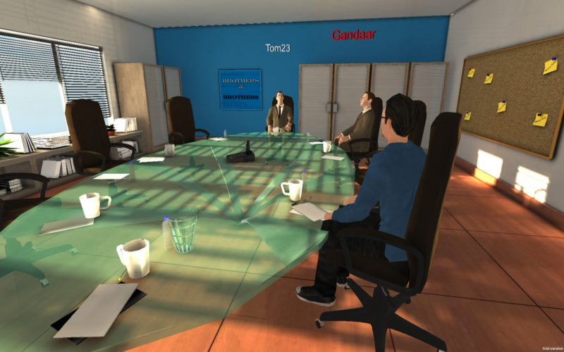 Men inside VR doing a business meeting around a table