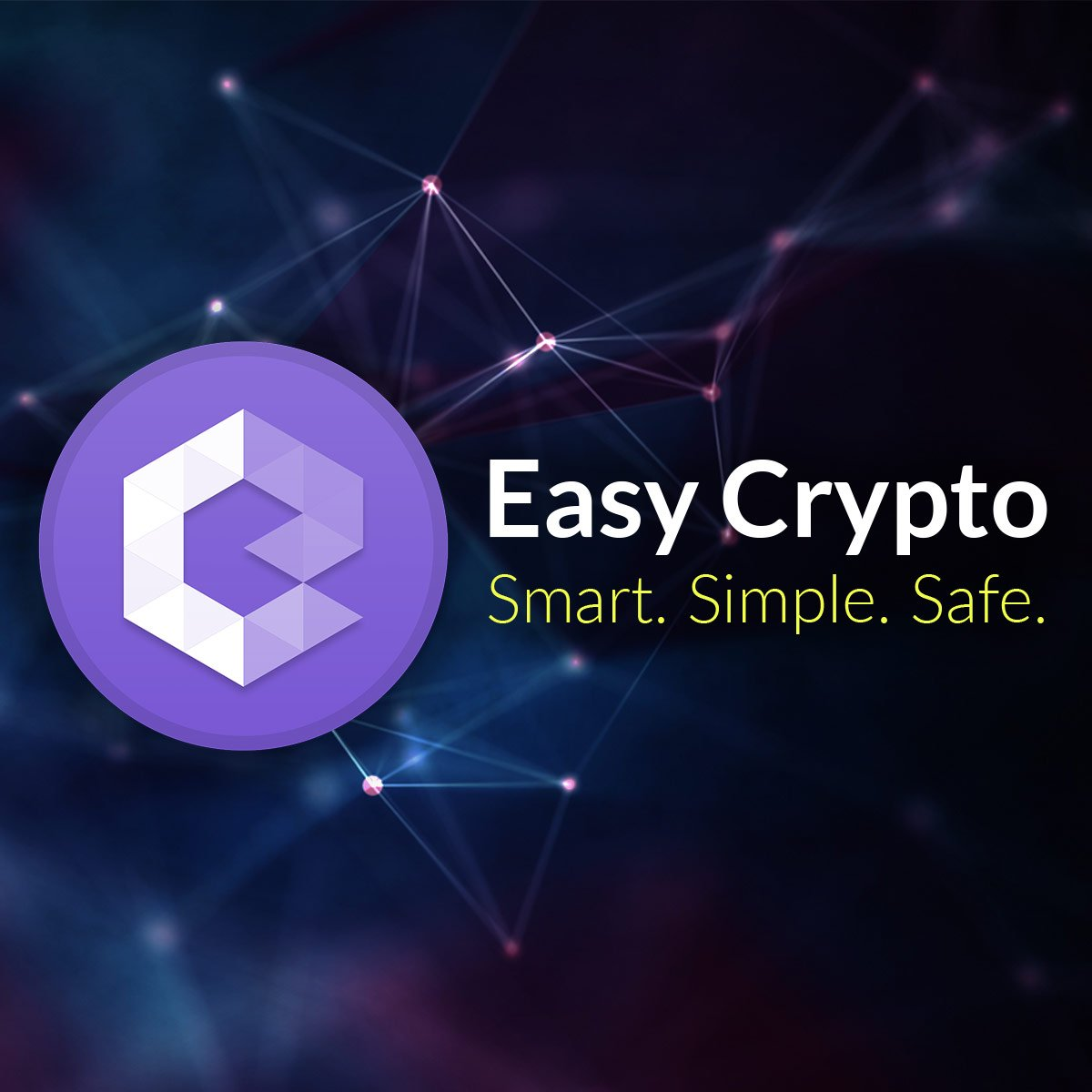 Easy Crypto logo banner with blockchain back ground