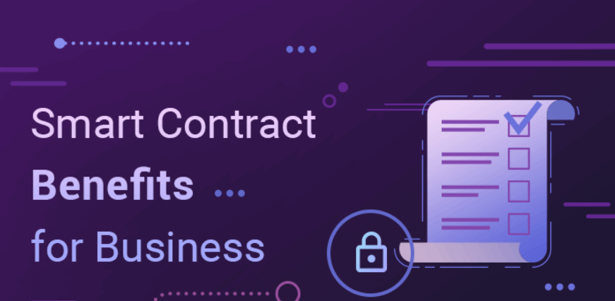 smart contract benefits writing with purple background and smart contract graphic