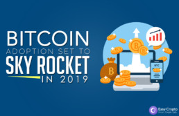 Bitcoin adoption set to sky rocket in 2019 blog preivew image with easy crypto logo