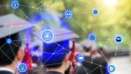 students with blockchain network on top
