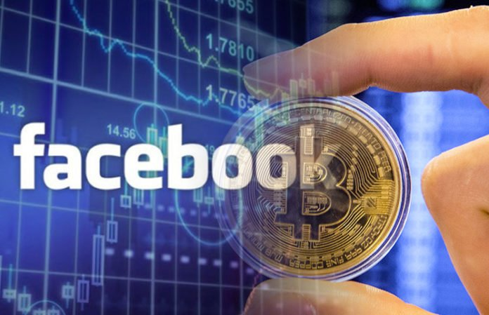 person holding a bitcoin logo behind Facebook logo with trading graph behind