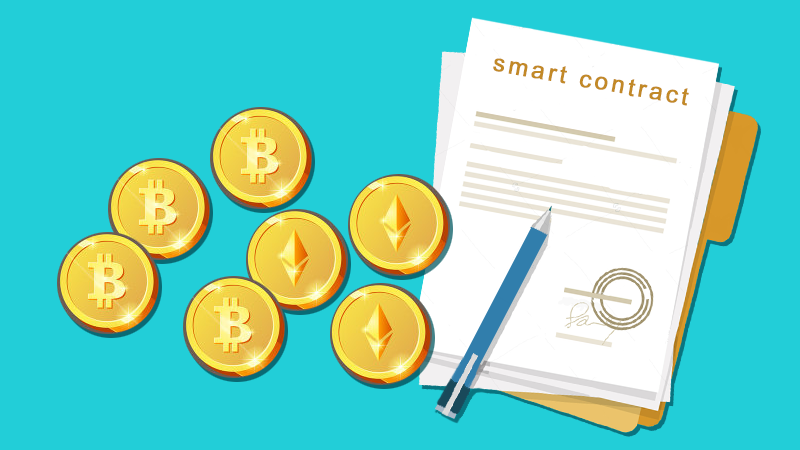 blue background with smart contract with bitcoins and ethereum coins and pen