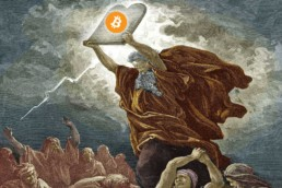 Moses holding up a bitcoin