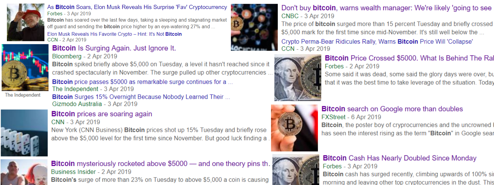 Screenshot Compilation of cryptocurrency news after April 3rd 2019
