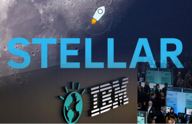 stellar and IBM logos with moon and rocket
