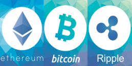 Ethereum Bitcoin and XRP logos with blue background